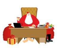 Residencia de Santa Claus Gran jefe de la Navidad en oficina del trabajo Trabajos a ilustración del vector