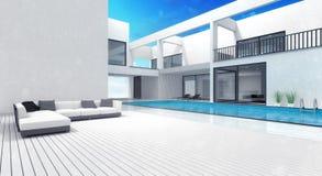 Residencia del chalet del verano con la piscina Foto de archivo