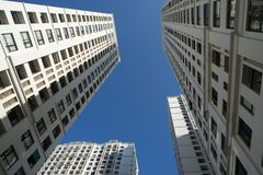 Resident apartment buildings against blue sky.  Royalty Free Stock Image