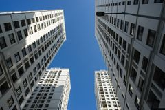 Resident apartment buildings against blue sky.  Stock Photo