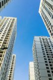 Resident apartment high buildings against blue sky.  Royalty Free Stock Photos