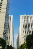Resident apartment high buildings against blue sky.  Royalty Free Stock Image