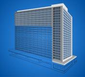 Resident building wireframe scene. Illustration resident building structure wireframe scene on a blue background Stock Photography