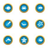 Resident depth icons set, flat style. Resident depth icons set. Flat set of 9 resident depth vector icons for web isolated on white background Royalty Free Stock Photos