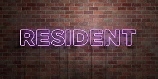 RESIDENT - fluorescent Neon tube Sign on brickwork - Front view - 3D rendered royalty free stock picture. Can be used for online banner ads and direct mailers Stock Photography