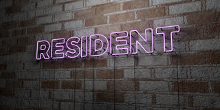 RESIDENT - Glowing Neon Sign on stonework wall - 3D rendered royalty free stock illustration. Can be used for online banner ads and direct mailers Royalty Free Stock Image