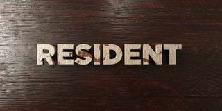 Resident - grungy wooden headline on Maple  - 3D rendered royalty free stock image. This image can be used for an online website banner ad or a print postcard Royalty Free Stock Image