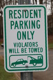 Resident Parking Only Sign Stock Photos