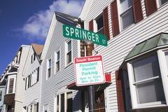 Resident Permit Parking, Springer St., South Boston, Massachusetts, USA Royalty Free Stock Photography