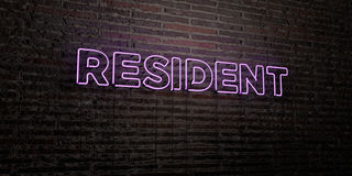 RESIDENT -Realistic Neon Sign on Brick Wall background - 3D rendered royalty free stock image. Can be used for online banner ads and direct mailers Royalty Free Stock Image