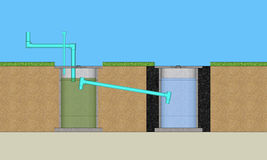 Resident waste water treatment system. 3D illustration resident waste water treatment system Royalty Free Stock Photography