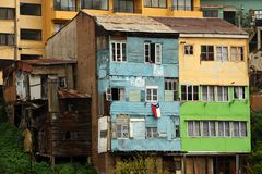 Residentail budynek w starym miasteczku Valparaiso Chile fotografia stock