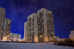 Residential area night stars Stock Photos