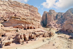 Residental area in ancient Petra city in jordan Royalty Free Stock Image