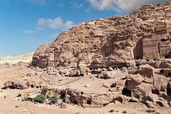 Residental area in ancient Petra city in jordan Stock Photo