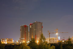 The residental area and the building. In the night royalty free stock photos