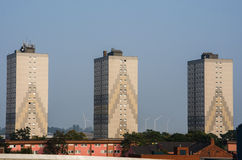 Residental british building. Three tall apartment buildings in industrial area Stock Images
