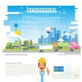 Residental concept. city landscape, village. engineer character design - vector. Illustration Stock Images