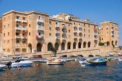 The residental houses on the Senglea (L-isla) peninsula. Malta. Stock Images