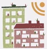 Residentes de un edificio usando las redes sociales RSS Imagen de archivo libre de regalías