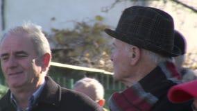 Residentes idosos de Sófia em Bulgária video estoque