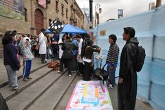 Residenti della città della nota di festa della città di La Paz Fotografia Stock