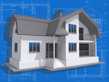 Residential. 3D isometric view of residential house on architect drawing Stock Images