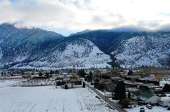 Residential and Agricultural Land in Keremeos BC. A winter view of west Keremeos  taken from the upper bench road looking towards the mountains on the south side Stock Photos