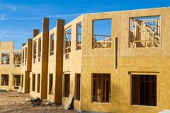 Residential apartment, condominium construction. Using particle board OSB Royalty Free Stock Photo