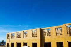 Residential apartment, condominium construction. Using particle board OSB Stock Images