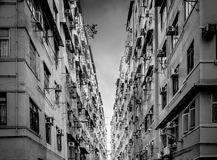 Residential aprtment in old district, Hong Kong in Black and whi Royalty Free Stock Images