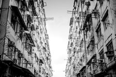 Residential aprtment in old district, Hong Kong in Black and whi Stock Photography