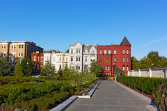 Residential architecture of North East surburb of Washington DC. Royalty Free Stock Photos