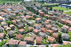 Residential area. Aerial dwellings in a residential area with tiled roofs and gardens royalty free stock images