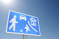 Residential area. Traffic sign indicating you are in a residential area royalty free stock photo