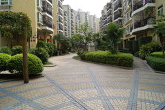 Residential area. This is my life of residential district, this layout is reasonable, the beautiful environment Stock Photo