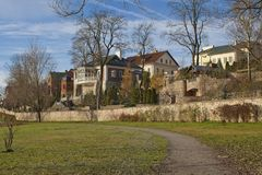 Residential area. New residential area with modern buildings in Pskov Royalty Free Stock Images