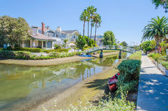 Residential area with canals in Venice Beach, California Stock Image