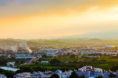 Residential area in Chiayi. Residential and rural area in Chiayi during sunrise stock photography