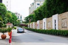 Residential area entrance avenue Stock Photos