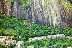 Residential area at the foot of a mountain in Rio de Janeiro, Br Royalty Free Stock Photography