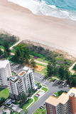 Residential area in front of a beach Royalty Free Stock Images
