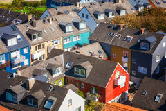 Residential area. High angle view of traditional colorful holiday homes. Island Helgoland, Germany Stock Image