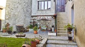 Residential area - house back yard. Residential area from the old part of Lugano city, the back yard from a house in Switzerland stock photos