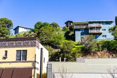 Residential area with houses built on a hill San Rafael, Marin county, north San Francisco bay area, California royalty free stock image