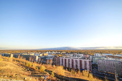The residential area of the industrial city in the Arctic Circle. Sunset. bad lighting conditions. Royalty Free Stock Photo