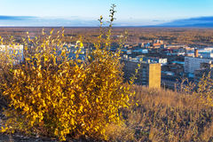 The residential area of the industrial city in the Arctic Circle. Sunset. bad lighting conditions. Stock Images