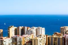 Residential area of Malaga near the sea. Residential area of Malaga, view from height of Castillo de Gibralfaro stock photography