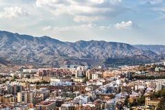 Residential area of Malaga. View from height of Castillo de Gibralfaro stock image