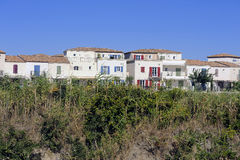 Residential area with marina at Aigues-Mortes Stock Photo